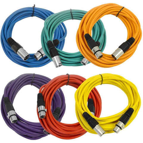 SAXLX-25 - 6 Pack of Multiple Colors 25 Foot XLR Patch Cables