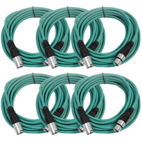 SAXLX-25 - 6 Pack of Green 25 Foot XLR Microphone Cables
