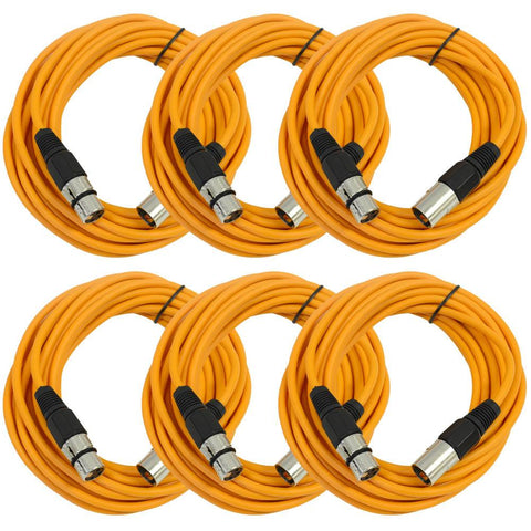 SAXLX-25 - 6 Pack of Orange 25 Foot XLR Microphone Cables