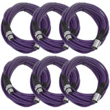 25 Ft XLR Microphone Cables - Purple 6 Pack