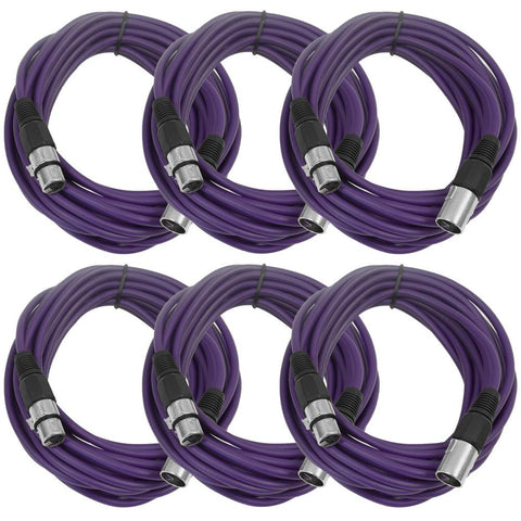SAXLX-25 - 6 Pack of Purple 25 Foot XLR Microphone Cables