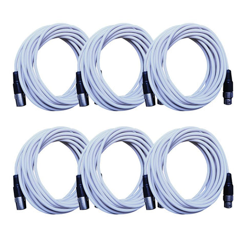 SAXLX-25 - 6 Pack of White 25 Foot XLR Microphone Cables