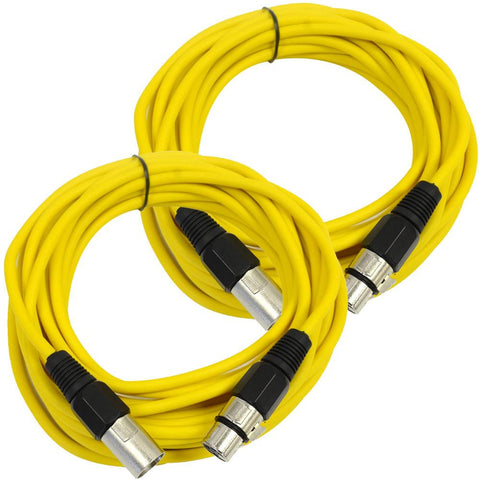 SAXLX-25 - Pair of Yellow 25 Foot XLR Microphone Cables