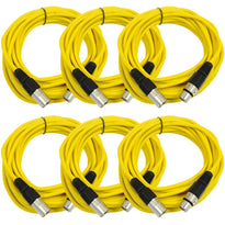 SAXLX-25 - 6 Pack of Yellow 25 Foot XLR Microphone Cables