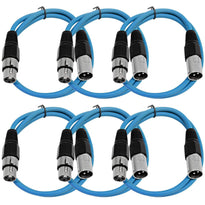 SAXLX-3 - 6 Pack of Blue 3 Foot XLR Patch Cables