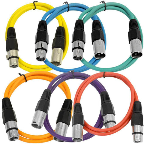 SAXLX-3 - 6 Pack of Multiple Colors 3 Foot XLR Patch Cables