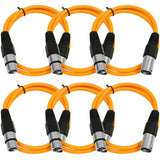 SAXLX-2 - 6 Pack of Orange 2 Foot XLR Patch Cables