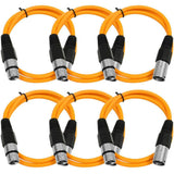 SAXLX-3 - 6 Pack of Orange 3 Foot XLR Patch Cables