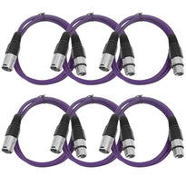 SAXLX-3 - 6 Pack of Purple 3 Foot XLR Patch Cables
