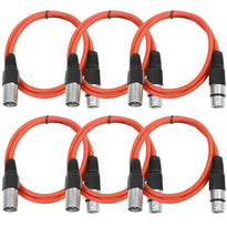 SAXLX-3 - 6 Pack of Red 3 Foot XLR Patch Cables