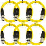 SAXLX-2 - 6 Pack of Yellow 2 Foot XLR Patch Cables