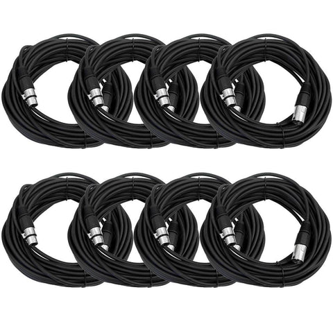 SAXLX-50 - 8 Pack of Black 50 Foot XLR Microphone Cables