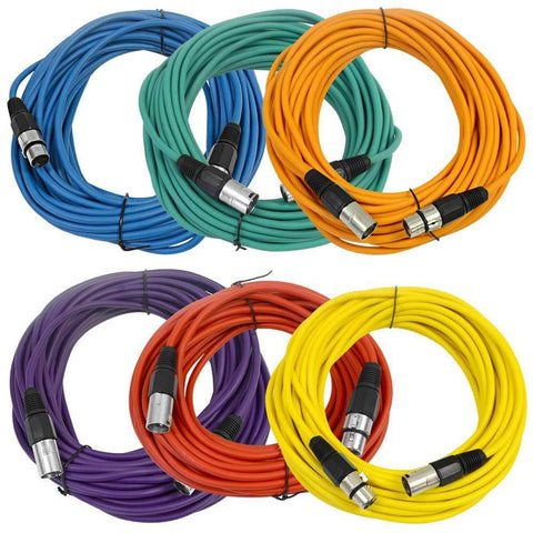 SAXLX-50 - 6 Pack of Multiple Colors 50 Foot XLR Patch Cables