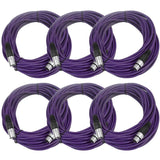 SAXLX-50 - 6 Pack of Purple 50 Foot XLR Microphone Cables