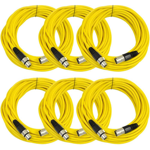 SAXLX-50 - 6 Pack of Yellow 50 Foot XLR Microphone Cables