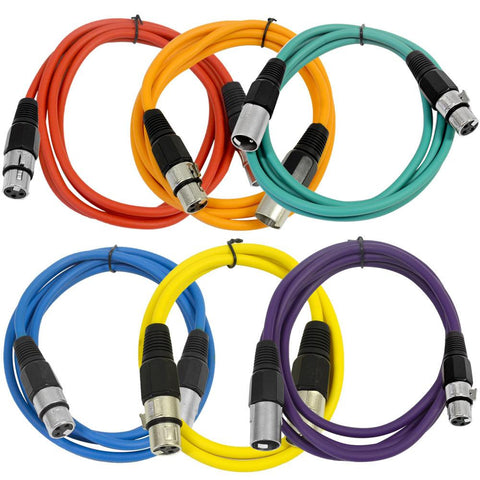 SAXLX-6 - 6 Pack of Multiple Colors 6 Foot XLR Patch Cables