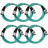 SAXLX-6 - 6 Pack of Green 6 Foot XLR Patch Cables