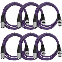 SAXLX-6 - 6 Pack of Purple 6 Foot XLR Patch Cables