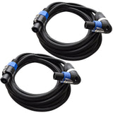TW12SRT15 - Pair of Speakon to Right Angle Speakon Speaker Cables 15'