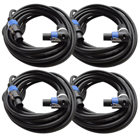 TW12SRT25 - Pack of 4 Speakon to Right Angle Speakon Speaker Cables 25'