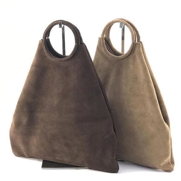 Suede Shopping Bag- Brown