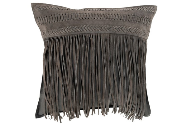 Suede Cushion with Fringes - Grey
