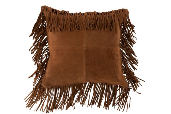 Suede Cushion with Fringes - Tabac
