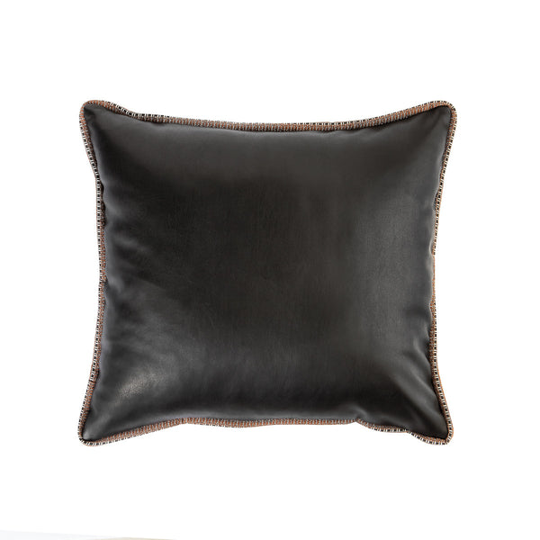 Faux Leather Cushion - Black