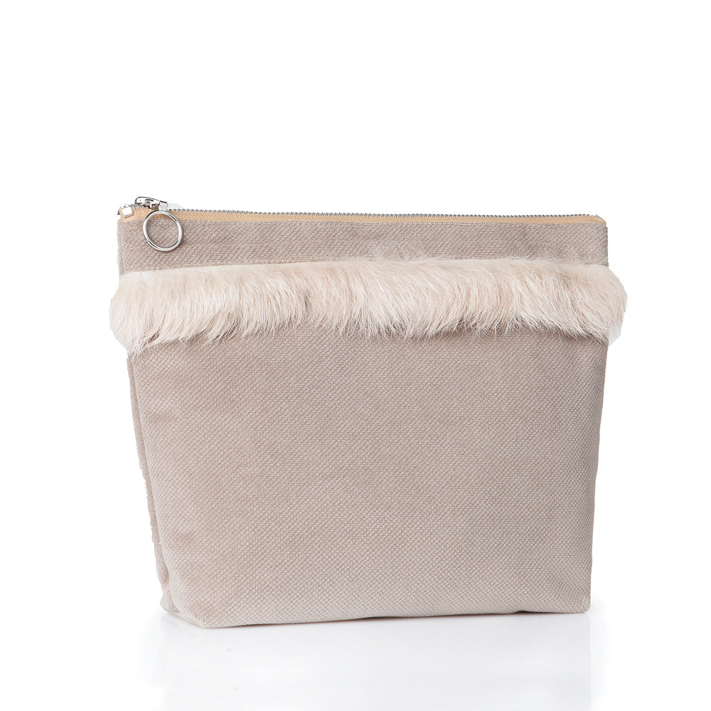 Alia pouch with fur - Beige