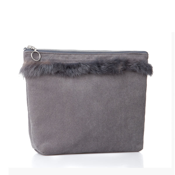 Alia pouch with fur - Grey