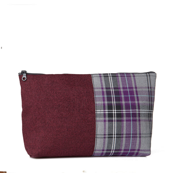 Large tartan pouch - Purple