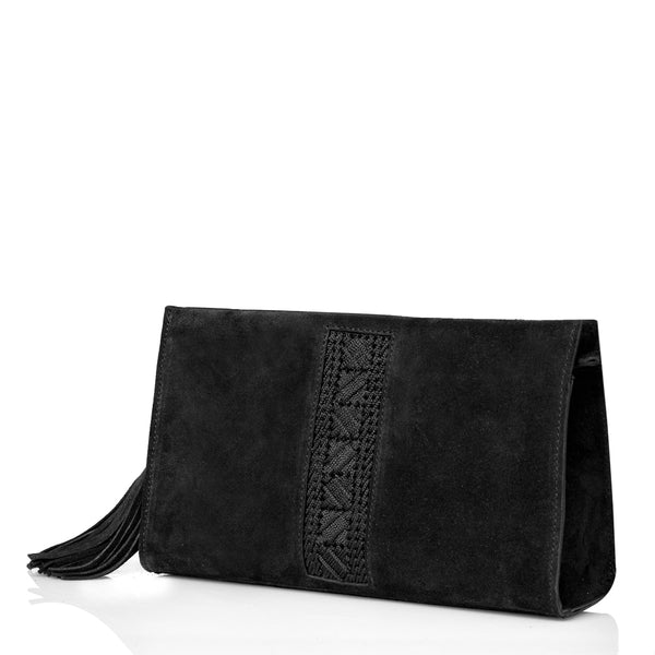 Suede Astarte Clutch - Black