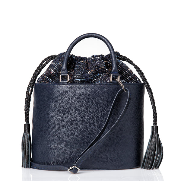 Oval Cross Body Bag with Handle - Navy