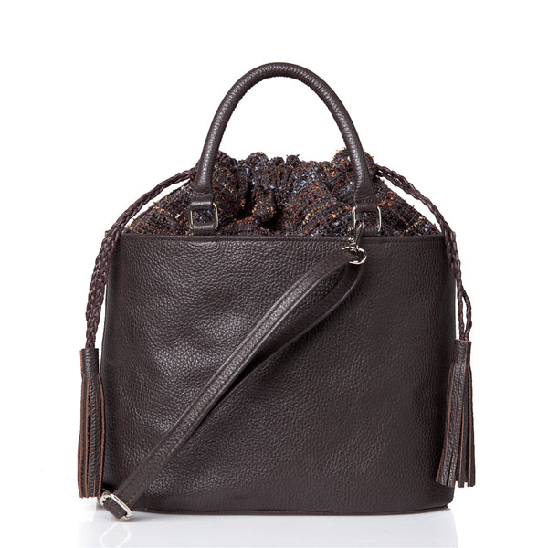 Oval Cross Body Bag with Handle - Dark Brown