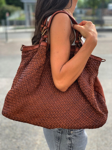 All Leather Woven Shoulder Bag - Camel