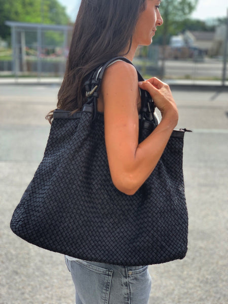 All Leather Woven Shoulder Bag - Black