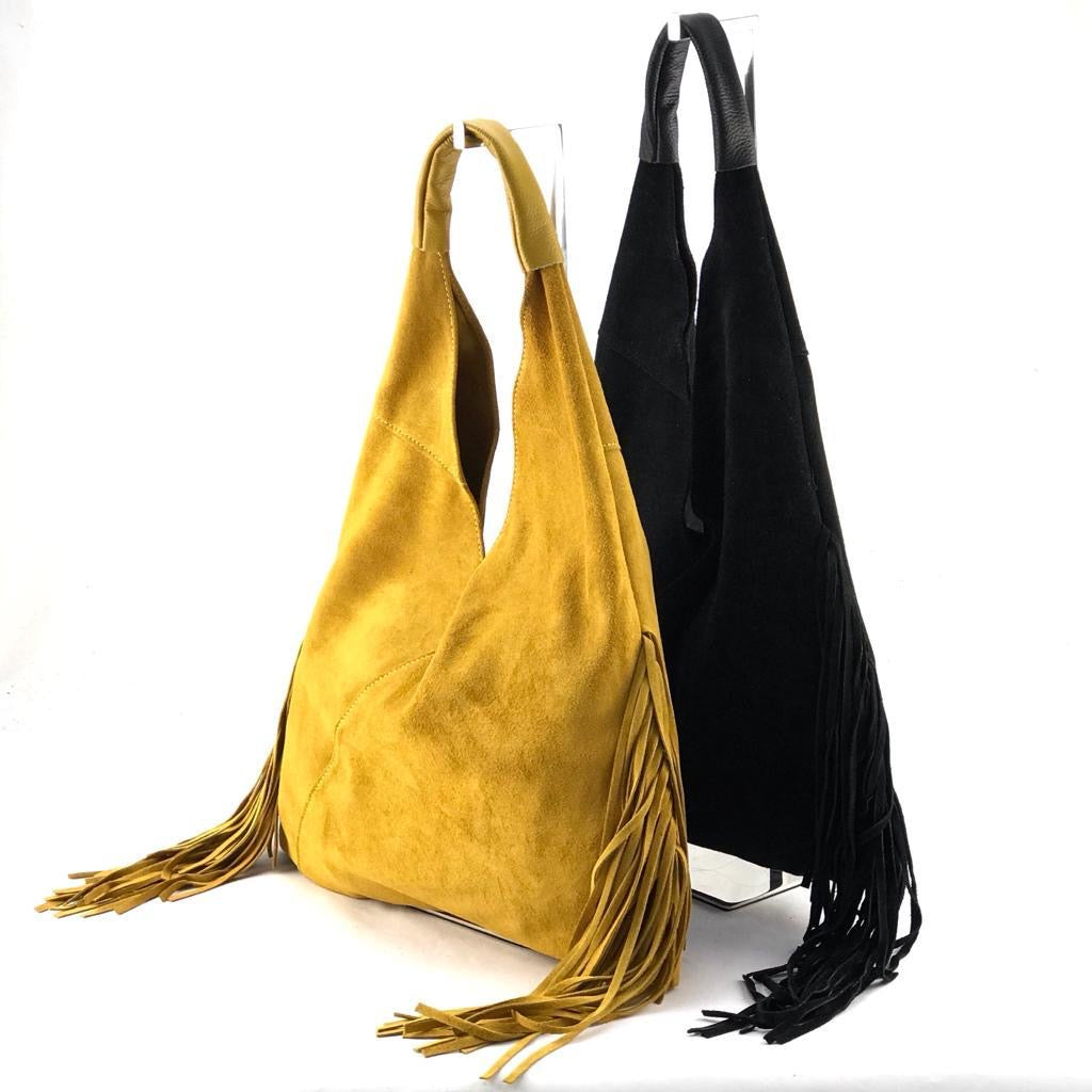 Suede Shoulder Bag with Fringes - Black