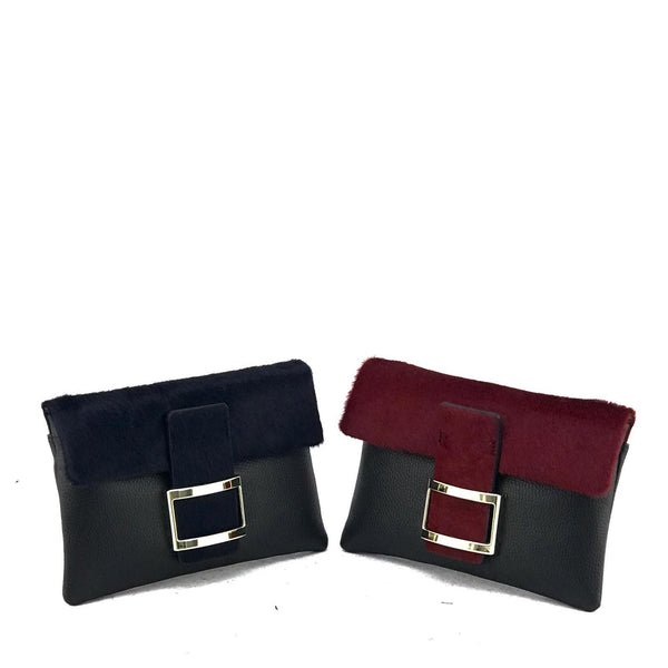 Leather & Pony Skin Clutch