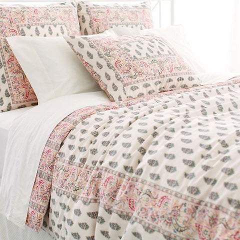 pink indian print duvet with paisley and florals