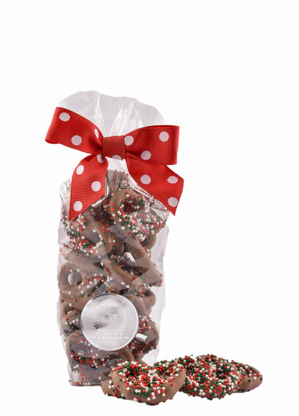 Holiday Seeded Milk Chocolate Mini Pretzels Gift Bag