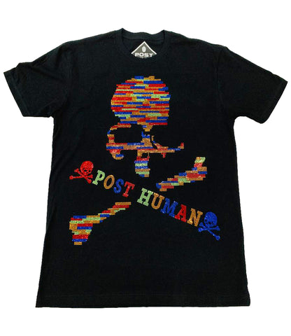 Post Human Skull Full Bling Crew Neck