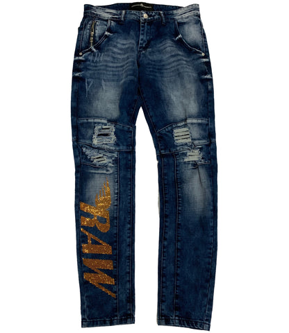 RAW Gold Bling Moto Jeans