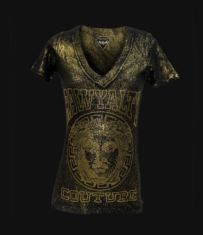 Medusa Full Bling Gold Vneck