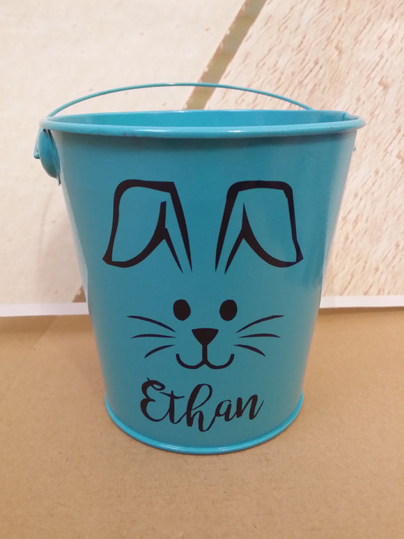 Personalised Easter Tin / Bucket - Bunny face