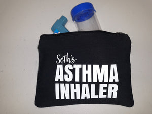 Personalised asthma inhaler bag