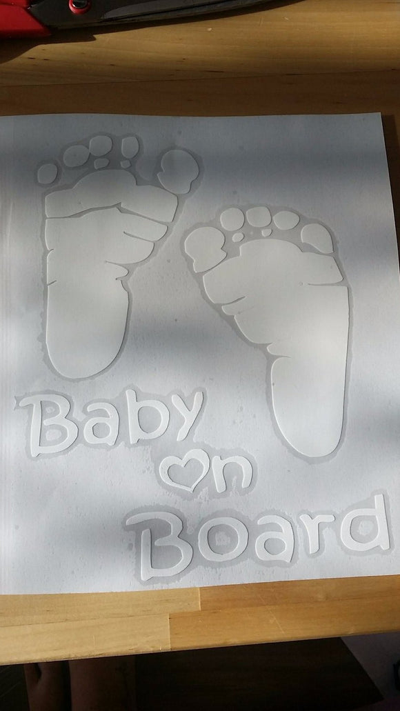 Baby On Board Sticker with footprints
