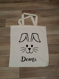 Personalised Easter Bunny Face Bag - Tote Bag