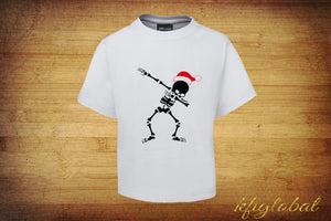 Christmas Skeleton Dab Shirt - childrens