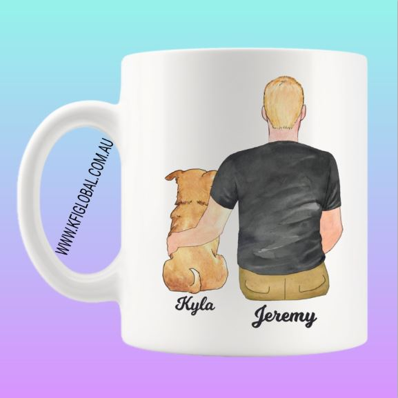 Personalised Pet and friend Design Mug - with male