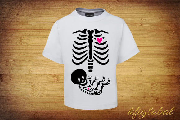 Skeleton Pregnancy shirts - Mum and baby